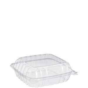 """Dart C90PST1 ClearSeal 8"""" x 8"""" Hinged Container - 250/Case 15D4061C"""